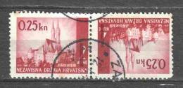 Croatia 1942 Mi 82K (tete Beche) Canceled - Croatia