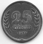 Netherlands 25 Cents 1941  Km 174  WW II  Xf - [ 3] 1815-… : Royaume Des Pays-Bas