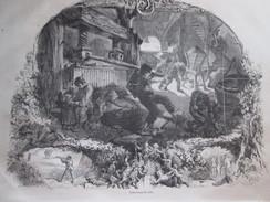 Gravure 1858 La Fabrication Du Cidre NORMANDIE     Presse Pommes à Cidre   Pressoir - Vieux Papiers