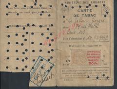 CARTE DE TABAC DE Mr  GALLOU GEORGES PARIS : - Cartes
