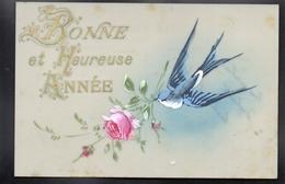 CPA FANTAISIE CELLULOID CELLULOIDE - DOREE - OR - Peinte à La Main - Oiseau Hirondelle - Fleurs Roses- Bonne Année -#433 - Nouvel An