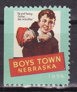 USA 1954 BOYS TOWN NEBRASKA Vignette Cinderella Charity Seals Seal Poster Stamp Label - Other