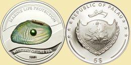 PALAU 2012 5 $ Dollars PEARL Mystery Of The Sea Ag CoA UNC - Palau