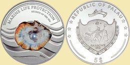 PALAU 2013 5 $ Dollars PEARL Secrets Of The Sea Ag CoA UNC - Palau