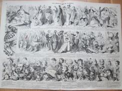 Revue Comique De L'année 1857 Par Marcelin -  Original 1858  Caricature   Dessins  Actualités - Vecchi Documenti