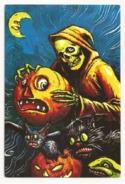 Weird Halloween, Skeleton, Scared Pumpkins And Cats,  Unused Postcard - Zonder Classificatie
