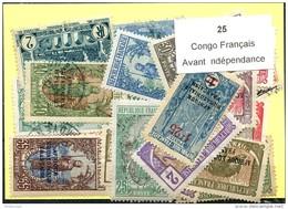25 Timbres Congo Francais Avant Indépendance - Non Classés