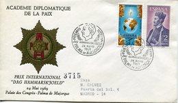 19417 Spain, Special Cover And Postmark 1969 Dag Hammarskjold,  Nobel Prize, Prix Nobel - Dag Hammarskjöld