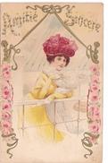 26172 Amitie Sincere -femme Fourrure Mode Chapeau - Relief Art Moderne 1900