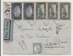 MAROC - 1936 - ENVELOPPE Par AVION => LYON Avec TAXE - Morocco (1891-1956)