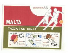 1986 Malta World Cup Football Mexico Souvenir Sheet MNH - World Cup