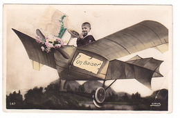 26175 Un Baiser -avion Fantaisie  -garrcon Enfant -ed Sirius 647 !pliure! - Autres