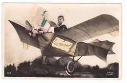 26175 Un Baiser -avion Fantaisie  -garrcon Enfant -ed Sirius 647 !pliure!