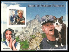 ST THOMAS AND PRINCE 2009 FILMS POP ROCK DAVID BOWIE TAYLOR CLINTON CATS IMPERF M/SHEET MNH - Sao Tome And Principe