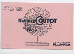 "BUVARD: ""MAURICE COUTOT"" GENEALOGISTE FORMAT 14X21 USÉ - C"
