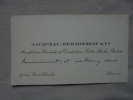 Ancien - Carte De Visite JACQUEAU BERJONNEAU & Cie Manufacture De Caoutchouc - Visiting Cards