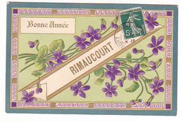 26180 RIMAUCOURT 52 -bonne Année -fantaisie Relief Fleur Violette -sans Ed - France