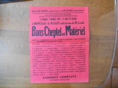 MONCEAU-LE-WAAST AISNE LE 5 NOVEMBRE 1950 ADJUDICATION VOLONTAIRE EN LA FERME DE M. LAUDE BONS CHEPTEL ET MATERIEL - Affiches