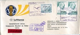 19429 Chile, Special Cover For The Flight Lufthansa,for The World Football Champ. Glight From Chile To Germany 1974 - Coppa Del Mondo