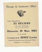 60 - LAMECOURT - CLERMONT - PUBLICITÉ 1960 - ELEVAGE - VENTE ANNUELLE DE 35 BÉLIERS- FLOCK-BOOK - BERGERIE SENEZ - Clermont