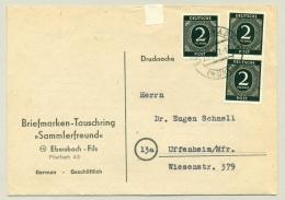 Alliierte Besetzung - 1947 - 3 X 2Pf On Complete Drucksache From Ebersbach To Uffenheim - Amerikaanse, Britse-en Russische Zone