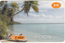 MICRONESIA - Palm Trees On The Beach, FSM Tel Prepaid Card $10, Used - Micronesia