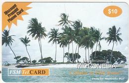 MICRONESIA - Small Island With Palm Trees, FSM Tel Prepaid Card $10, Used