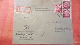DR 33-45: R-Fern-Brief Mit 12 Pf Saarabst. Und 15 Pf Hindenburg Im Senkr.Paar Aus Berlin 27 (848) 27 29.4.35 Knr:567 Ua - Briefe U. Dokumente