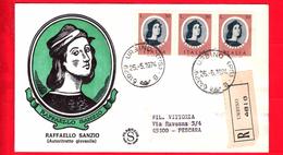 ITALIA - 1974 - FDC - Filagrano - Raffaello Sanzio - Viaggiata - Raccomandata - Annullo Di Urbino (PS) - 6. 1946-.. Republic