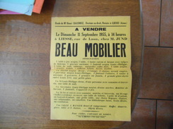 LIESSE LE 11 SEPTEMBRE 1955 A VENDRE RUE DE LAON CHEZ M. JUND BEAU MOBILIER - Afiches
