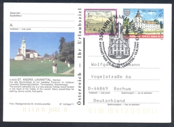 Austria 1997 Postal Stationery Card St. Andrä Architecture Castle Schloss Bats; Ancient Cathedral Church Kirche Folded - Castles