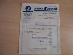 Facture De ARMES PEUGEOT 47 Rue Gutenberg SAINT-ETIENNE - Frankreich