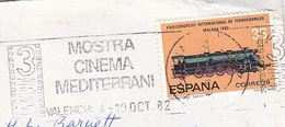 1982 SPAIN Stamps COVER SLOGAN Pmk 3rd MOSTRA CINEMA MEDITERRANI VALENCIA Film Movie Train Railway - Cinema