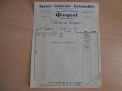 Facture De PEUGEOT 1938 ORLEANS AGENCE GENERALE AUTOMOBILE - Frankreich