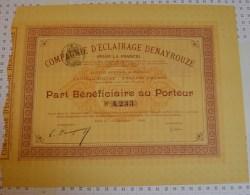 Cie D'eclairage Denayrouze, Part Beneficiaire De 1896, Rare. - Electricité & Gaz