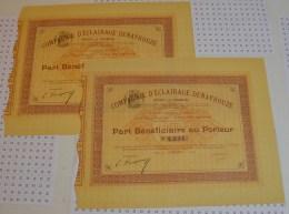 Cie D'eclairage Denayrouze, 2 Parts Beneficiaires De 1896, Rare. - Electricité & Gaz