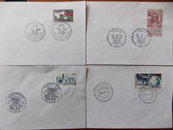 1986 France 4 Enveloppes Timbres Y&T N° 2393 - 2402 - 2409 - 2412.  Oblitérations Premier  Jour - Used Stamps