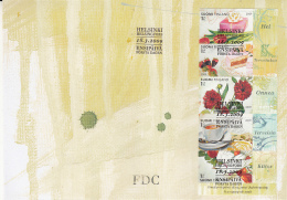 Finland FDC 2009 #1335 Booklet Pane Of 5 Plus Labels Greetings: Gifts, Cake, Strawberries - FDC