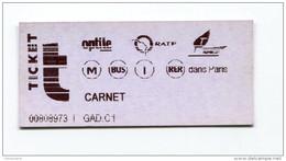Ticket De Metro, Bus RER - Paris - 2004 - Billet RATP - Métro