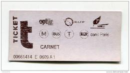 Ticket De Metro, Bus RER - Paris - 2004 - Billet RATP - Train Ticket - Métro