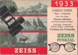 """05604 """"CALENDARIO 1933 - NOCERA INFERIORE - CARLO CASO OTTICA FOTOGRAFIA - PUBBLICITA' ZEISS"""" ORIGINALE. - Formato Piccolo : 1921-40"""