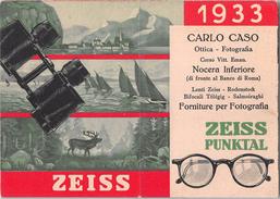 "05604 ""CALENDARIO 1933 - NOCERA INFERIORE - CARLO CASO OTTICA FOTOGRAFIA - PUBBLICITA' ZEISS"" ORIGINALE. - Petit Format : 1921-40"