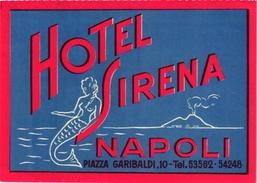 1 Hotel Label Etiquette  Mythologie SIRENE Mermaid Zeemeermin Meerjungfrau Hotel Sirena Napoli - Hotel Labels