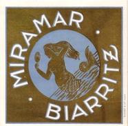 1 Hotel Label Etiquette  Mythologie SIRENE Mermaid Zeemeermin Meerjungfrau   Miramar BIARRITZ - Hotel Labels
