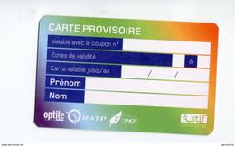 Carte Provisoire Vierge Type 1  SNCF / RATP Délivrée En Cas De Déterioration Du Titre Principal - Ticket RER Métro Paris - Abonnements Hebdomadaires & Mensuels