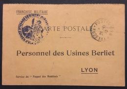 Carte De Franchise Militaire USINES BERLIET Accusé Réception COLIS 346e Infanterie Nov 1916 - Postmark Collection (Covers)