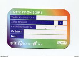 Carte Provisoire Vierge Type 2  SNCF / RATP Délivrée En Cas De Déterioration Du Titre Principal - Ticket RER Métro Paris - Abonnements Hebdomadaires & Mensuels