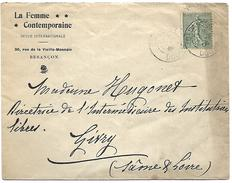 LF 897 Enveloppe De Besançon De 1904 Timbre N°130 - Marcophilie (Lettres)