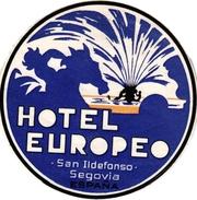 1 Hotel Label Etiquette  Mythologie SIRENE Mermaid Zeemeermin Meerjungfrau  Hotel Europe San Ildefonso Segovia Spain - Etiquettes D'hotels