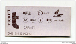 Ticket De Metro, Bus RER - Paris - 2004 - Billet RATP - Train Ticket Transportation - Métro